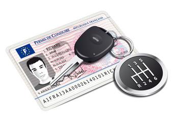 Nouveau permis de conduire avec porte-clé levier de vitesse