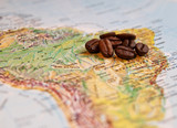 Coffee grains on South America map