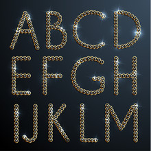 Shiny diamond and gold alphabet letters - uppercase version