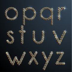 Shiny diamond and gold alphabet letters - lowercase version