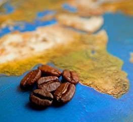 Coffee grains on Africa map