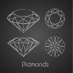 Sketchy chalk-drawn diamond icons