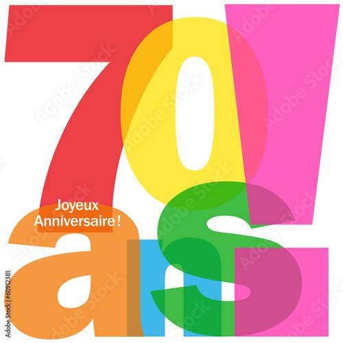 """Carte """"70 ANS ! JOYEUX ANNIVERSAIRE"""" (fête voeux félicitations)"""