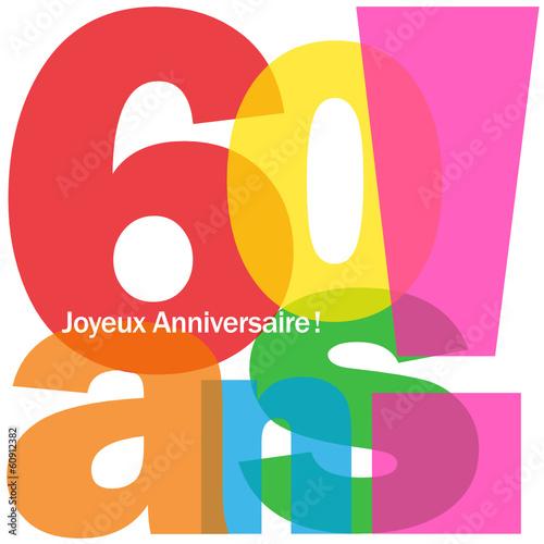 Carte 60 ans joyeux anniversaire f te voeux f licitations fichier vectoriel libre de - Voeux anniversaire 60 ans ...