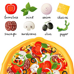 Pizza and ingredients