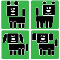 dog icons isolated on a green background
