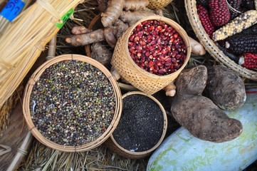 Variety of edible seeds - sesame,rice