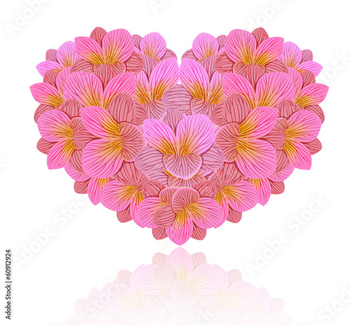 Flowers of freesia in the form of a heart