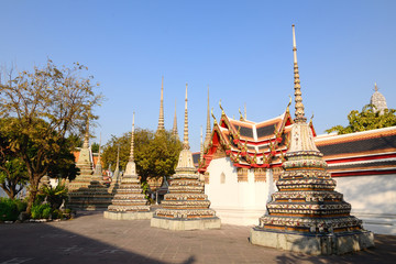 Authentic Thai Architecture in Wat Pho at Bangkok, Thailand