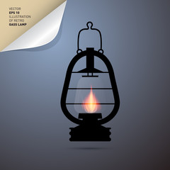 Vector Illustration of Vintage Lantern, Gas Lamp