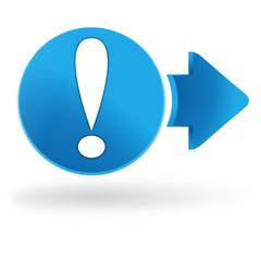 danger sur symbole web bleu