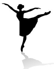 silhouette di ballerina su sfondo bianco