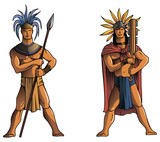 Warriors of Maya, Aztec or Inca, vector