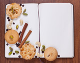 Notebook with biscuits