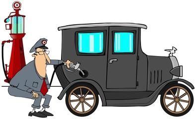 Man putting gas in antique car