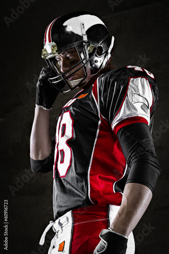 Portrait of american football player looking aside