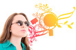 woman with sunglasses, color background design