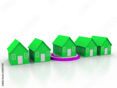 A targe with a house on the white background