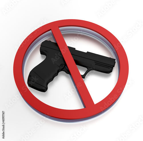 Prohibited sign - gun ban