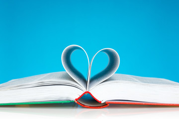 Book folded into a heart shape
