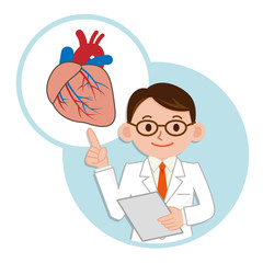 心臓の説明をする医師