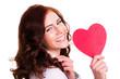 junge attraktive Frau mit Herz