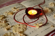Постер, плакат: Red heart shaped candle holder note list under it