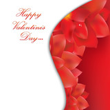 Happy Valentines Day Card With Red Flowers