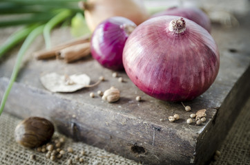 red onion on wooden