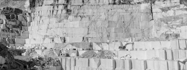 Thassos white marble quarry in bw