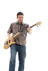 Crazy bass guitarist