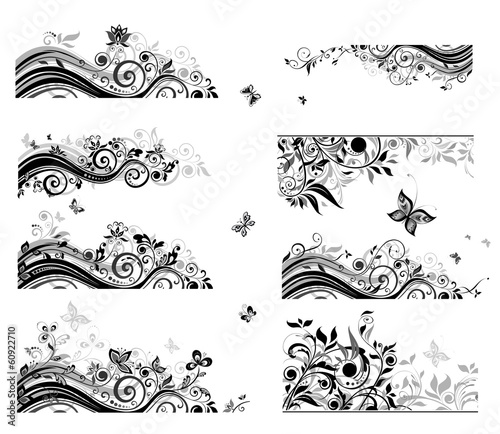 Set of vintage backgrounds (black and white)