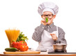 funny boy chef is cooking in the kitchen