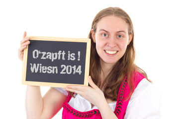 Pretty woman shows board : O zapft is ! Wiesn 2014