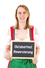 Blond woman shows blackboard : Oktoberfest reservation