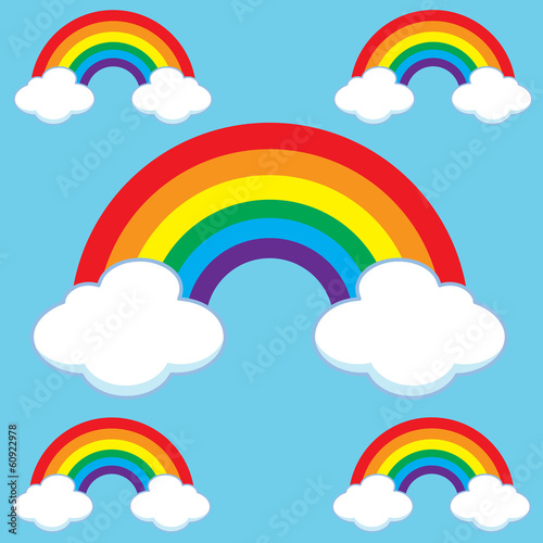 Cartoon Rainbows & Clouds Set