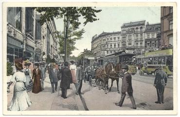 Berliner Leben in der Potsdamer Straße1909, (col. Postkarte)