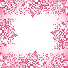 Floral decorative frame in pink colors