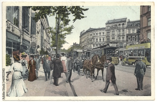 Fototapeta Berliner Leben in der Potsdamer Straße1909, (col. Postkarte)