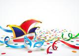 Karneval -Narrenkappe, Maske, Konfettiboden