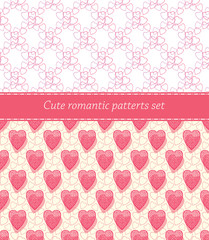 Cute romantic patterns in set