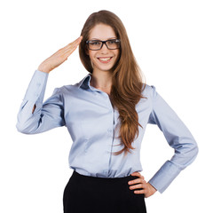 Cute woman in glasses welcomes someone