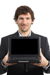 Attractive businessman showing a netbook screen app