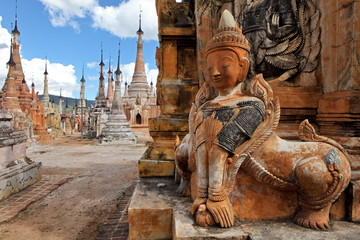 Ancient statue and bas-reliefs at Indein, Myanmar