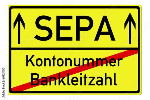 Schild - SEPA / Kontonummer