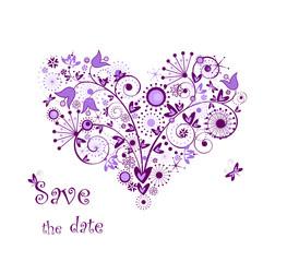 Violet floral heart