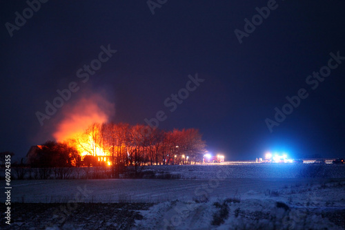 Farm burning down