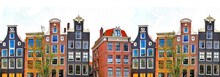 Amsterdam. traditionele huizen grens