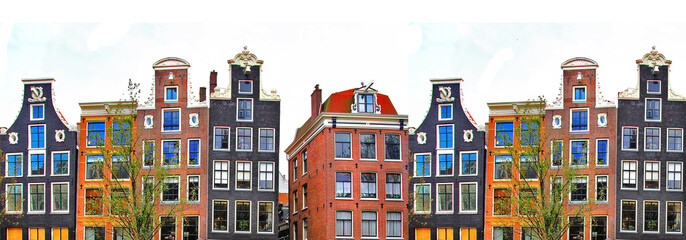Amsterdam . traditional houses border