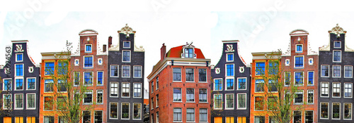 Deurstickers Amsterdam Amsterdam . traditional houses border